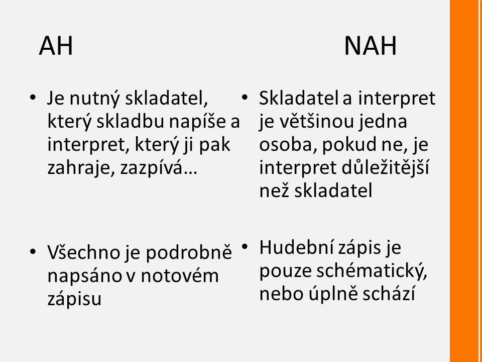 AHNAH Je nutný skladatel, který skladbu napíše a interpret, který ji pak zahraje, zazpívá… Všechno je podrobně napsáno v notovém zápisu Skladatel a interpret je většinou jedna osoba, pokud ne, je interpret důležitější než skladatel Hudební zápis je pouze schématický, nebo úplně schází