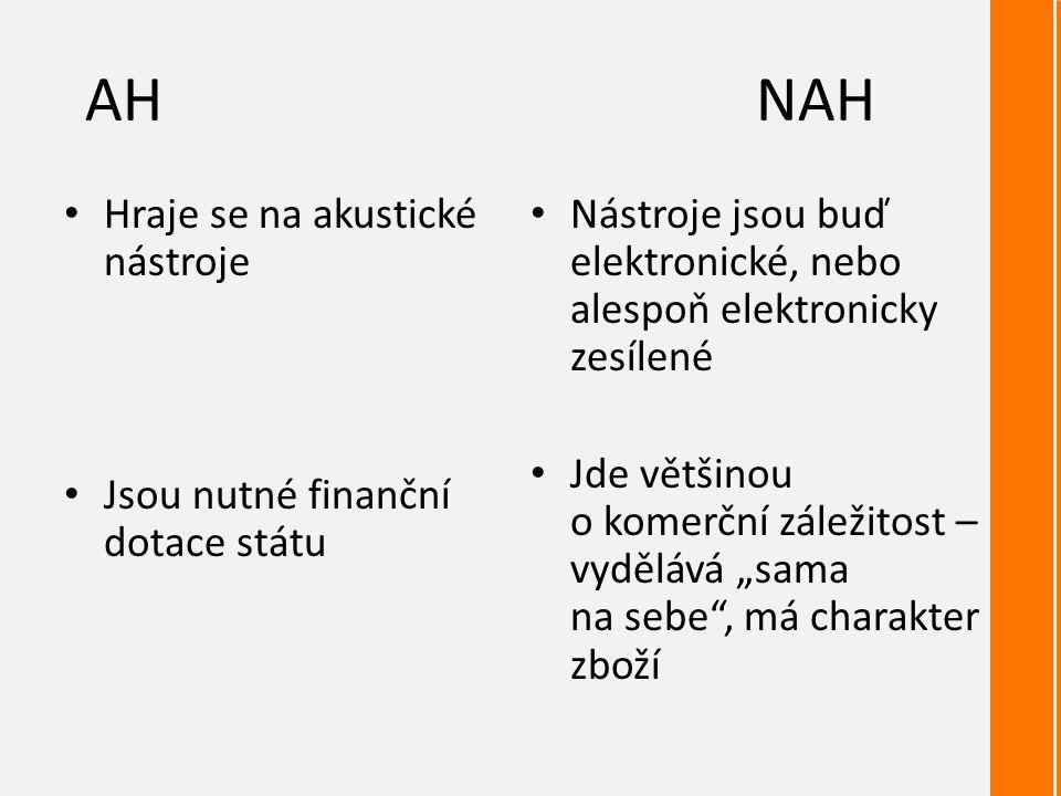 """AHNAH Hraje se na akustické nástroje Jsou nutné finanční dotace státu Nástroje jsou buď elektronické, nebo alespoň elektronicky zesílené Jde většinou o komerční záležitost – vydělává """"sama na sebe , má charakter zboží"""