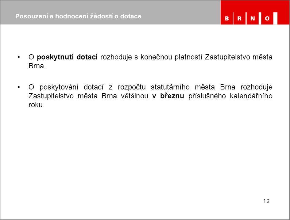 O poskytnutí dotací rozhoduje s konečnou platností Zastupitelstvo města Brna.