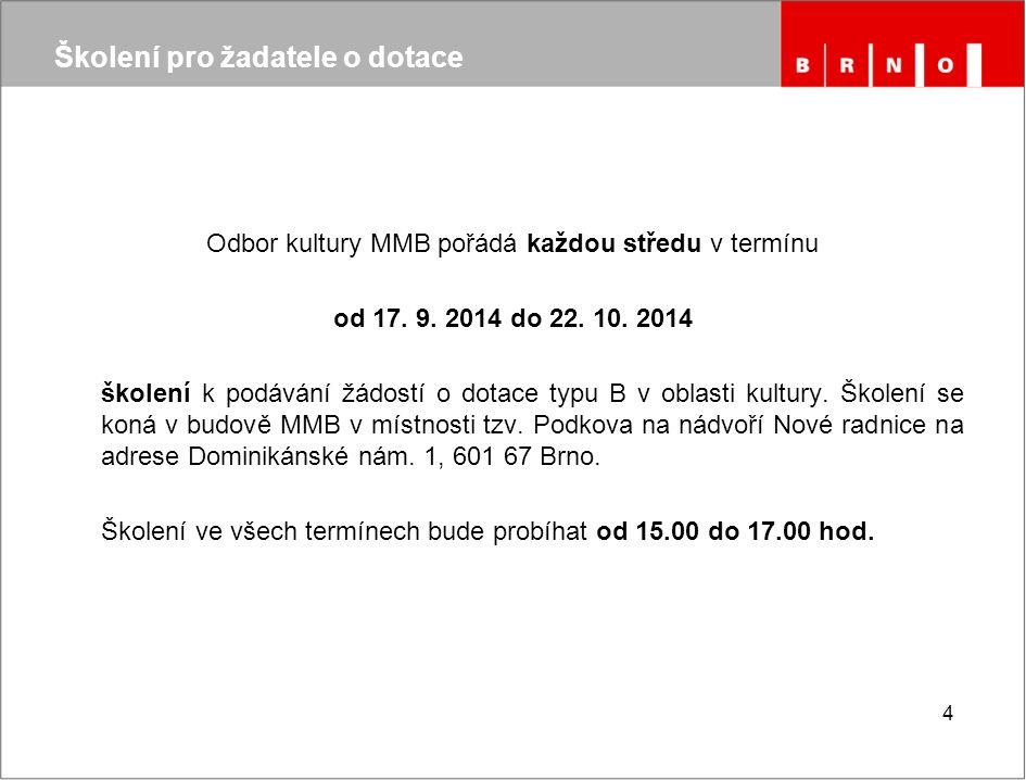 15 Důležité odkazy Ministerstvo kultury České republiky - dotace http://www.mkcr.cz/granty-a-dotace/default.htm Jihomoravský kraj – dotace v oblasti kultury a památkové péče http://dotace.kr-jihomoravsky.cz/Folders/759-1-Kultura+a+pamatkova+pece.aspx Odbor kultury MMB http://www.brno.cz/?id=4460263 Statutární město Brno – dotační portál – kultura https://dotace-kultura.brno.cz/SitePages/DomovskaStranka.aspx