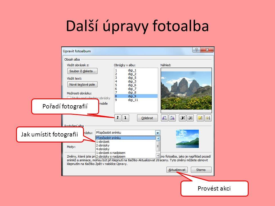 Další úpravy fotoalba Pořadí fotografií Provést akci Jak umístit fotografii