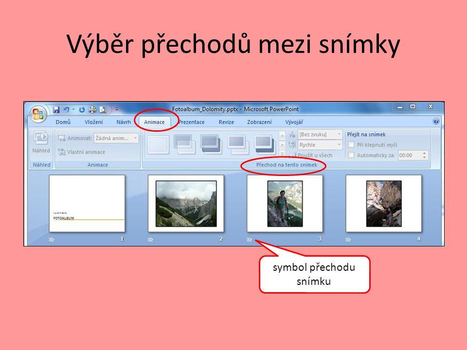Výběr přechodů mezi snímky symbol přechodu snímku
