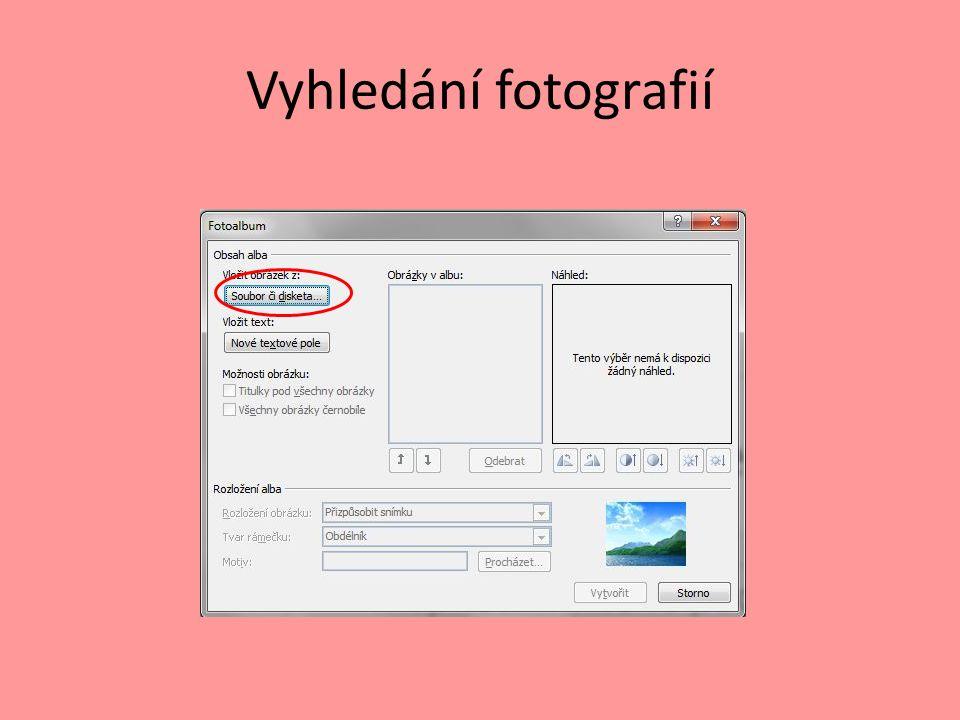 Vyhledání fotografií