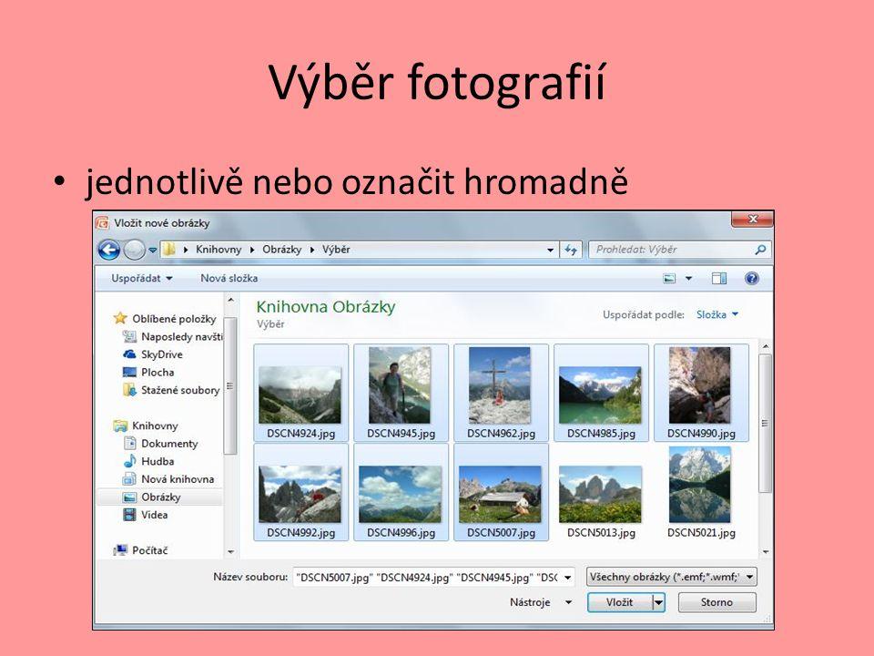 Výběr fotografií jednotlivě nebo označit hromadně