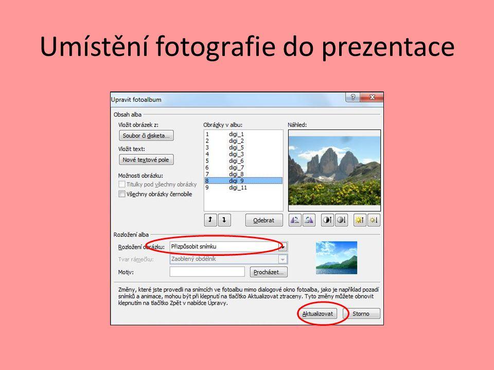 Umístění fotografie do prezentace