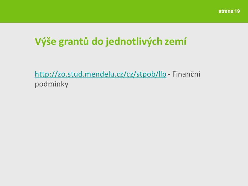 Výše grantů do jednotlivých zemí http://zo.stud.mendelu.cz/cz/stpob/llphttp://zo.stud.mendelu.cz/cz/stpob/llp - Finanční podmínky strana 19