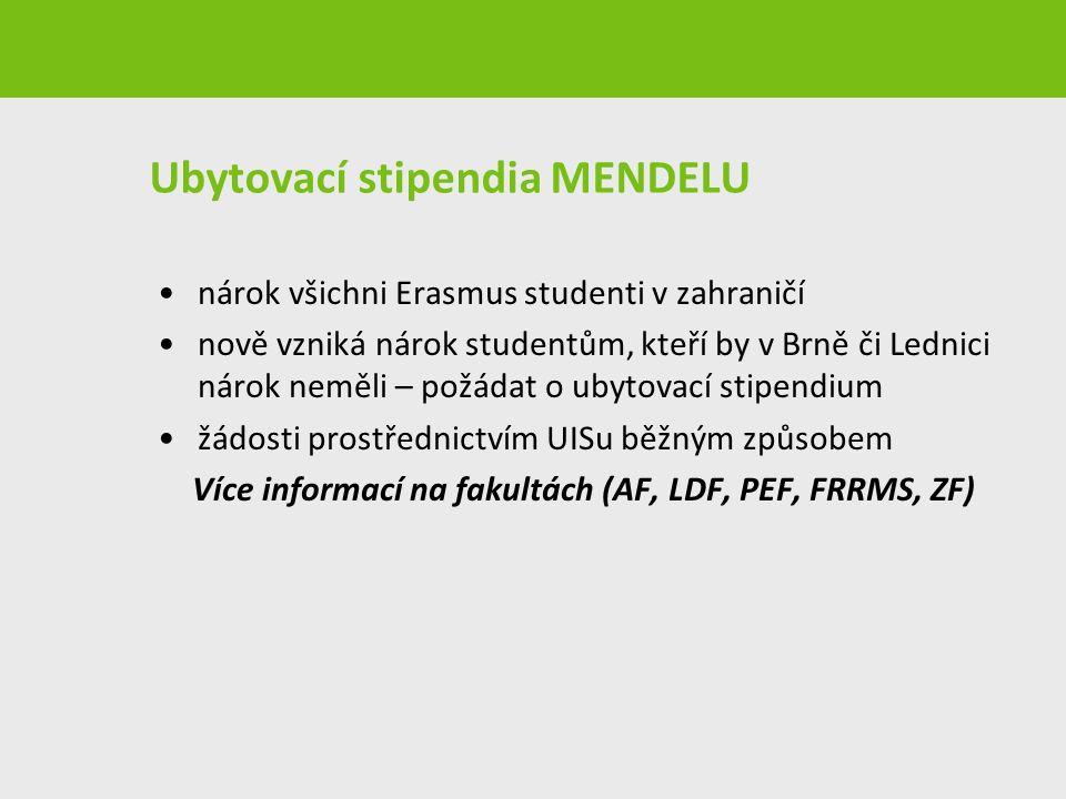 Ubytovací stipendia MENDELU nárok všichni Erasmus studenti v zahraničí nově vzniká nárok studentům, kteří by v Brně či Lednici nárok neměli – požádat