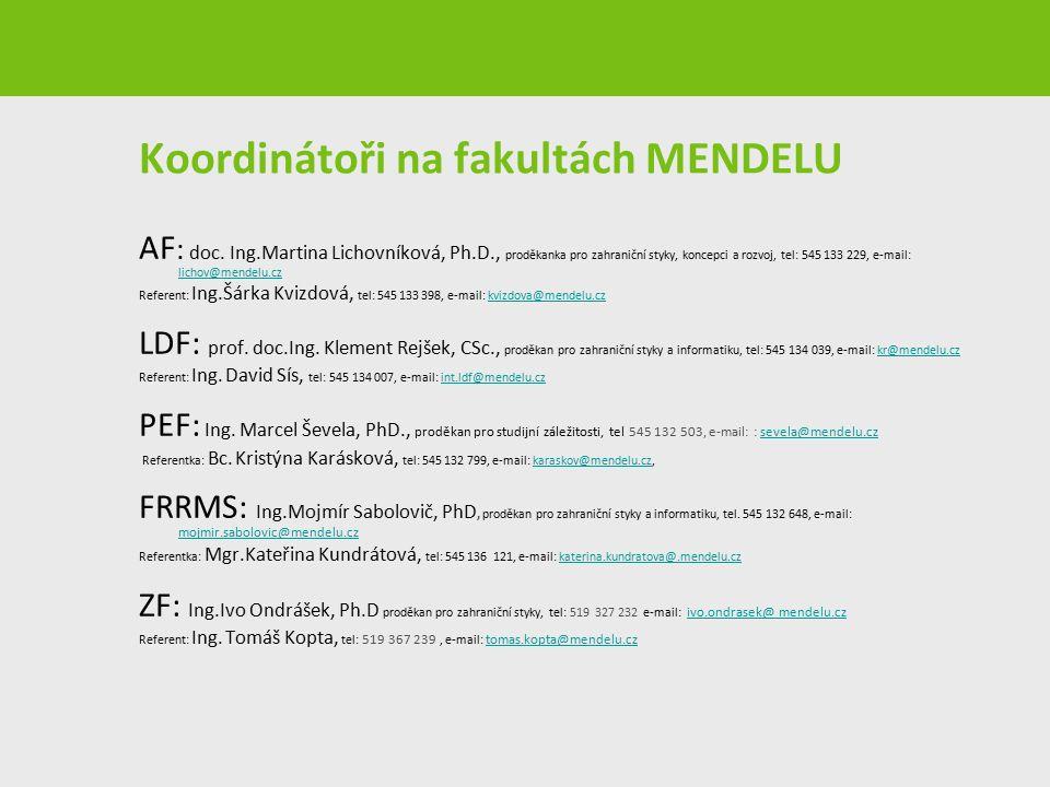 Koordinátoři na fakultách MENDELU AF : doc. Ing.Martina Lichovníková, Ph.D., proděkanka pro zahraniční styky, koncepci a rozvoj, tel: 545 133 229, e-m