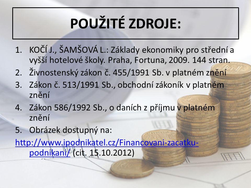 POUŽITÉ ZDROJE: 1.KOČÍ J., ŠAMŠOVÁ L.: Základy ekonomiky pro střední a vyšší hotelové školy.
