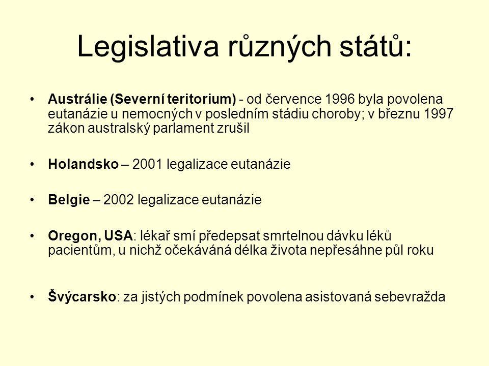 Legislativa různých států: Austrálie (Severní teritorium) - od července 1996 byla povolena eutanázie u nemocných v posledním stádiu choroby; v březnu 1997 zákon australský parlament zrušil Holandsko – 2001 legalizace eutanázie Belgie – 2002 legalizace eutanázie Oregon, USA: lékař smí předepsat smrtelnou dávku léků pacientům, u nichž očekáváná délka života nepřesáhne půl roku Švýcarsko: za jistých podmínek povolena asistovaná sebevražda