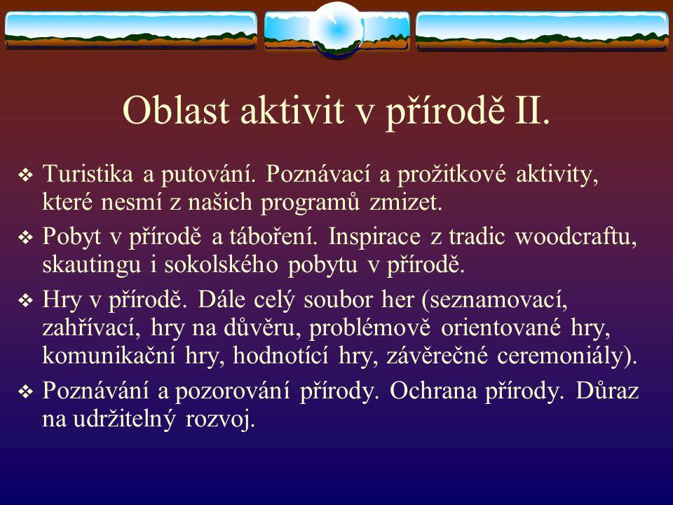 Oblast aktivit v přírodě II.  Turistika a putování.