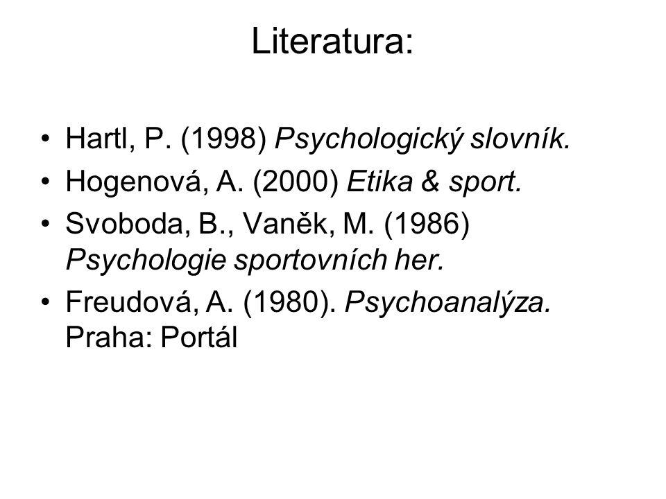 Literatura: Hartl, P. (1998) Psychologický slovník.