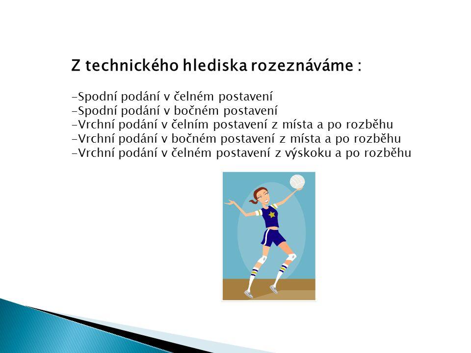 Z technického hlediska rozeznáváme : -Spodní podání v čelném postavení -Spodní podání v bočném postavení -Vrchní podání v čelním postavení z místa a po rozběhu -Vrchní podání v bočném postavení z místa a po rozběhu -Vrchní podání v čelném postavení z výskoku a po rozběhu VY_32_INOVACE_01_ČJ_15
