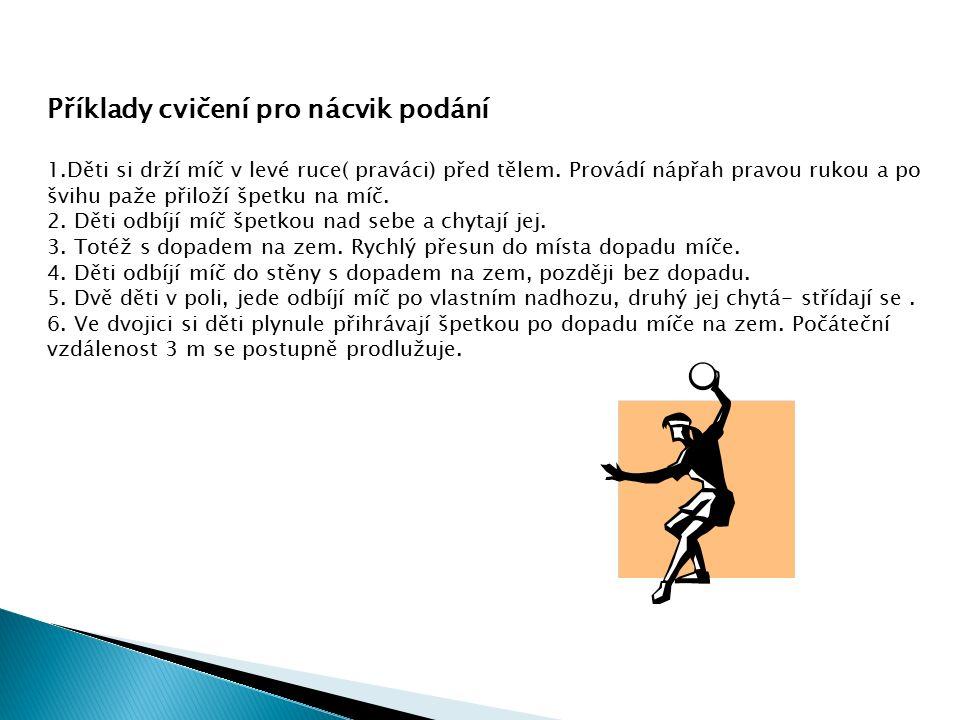 Příklady cvičení pro nácvik podání 1.Děti si drží míč v levé ruce( praváci) před tělem. Provádí nápřah pravou rukou a po švihu paže přiloží špetku na