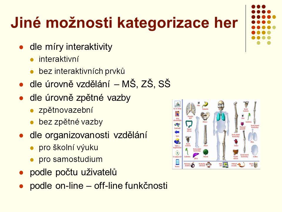 Výukové počítačové hry Akční čeština – fy Sarsoft - http://www.ucimehrou.cz/http://www.ucimehrou.cz/ Mistr rovnic – fy Softer - http://www.softer.cz/http://www.softer.cz/ Jak krtek ke kalhotkám přišel, Jak se žije papíru – eko sdružení Tereza - http://programy.terezanet.cz/1.---2.-trida-zs.htmlhttp://programy.terezanet.cz/1.---2.-trida-zs.html Šikula – veselé písmenka Enigeo – vlajky a státy - http://www.studna.cz/aplikace-pro-kancelar- nebo-domacnost-vyukove-programy-c-1108.htmlhttp://www.studna.cz/aplikace-pro-kancelar- nebo-domacnost-vyukove-programy-c-1108.html určené především pro žáky nižších ročníků zábavnou formou se seznamují například s vlastivědou nebo historií, s jazyky nebo matematikou obvykle jsou vytvořeny tak, aby umožňovaly samostudium a v případě neúspěchu motivovaly žáky k opakování zábavného testu