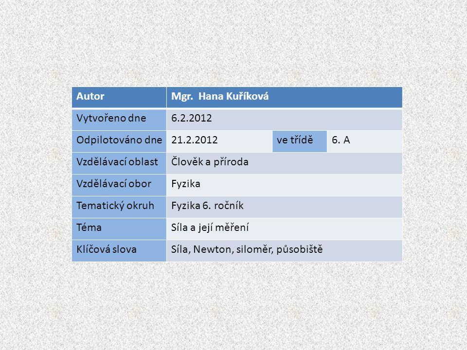 AutorMgr. Hana Kuříková Vytvořeno dne6.2.2012 Odpilotováno dne21.2.2012ve třídě6.