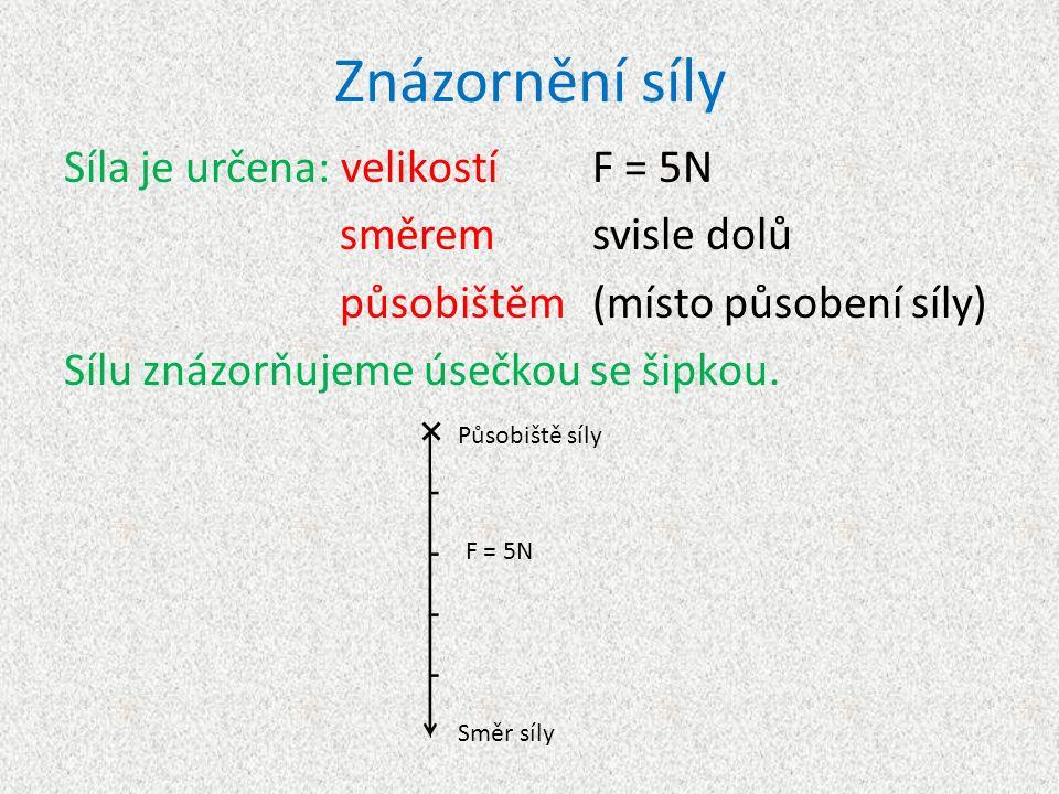 Znázornění síly Síla je určena: velikostí F = 5N směremsvisle dolů působištěm(místo působení síly) Sílu znázorňujeme úsečkou se šipkou.