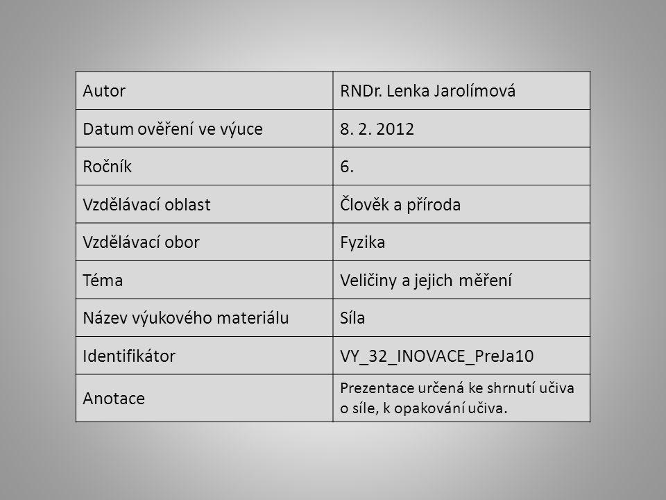 AutorRNDr.Lenka Jarolímová Datum ověření ve výuce8.