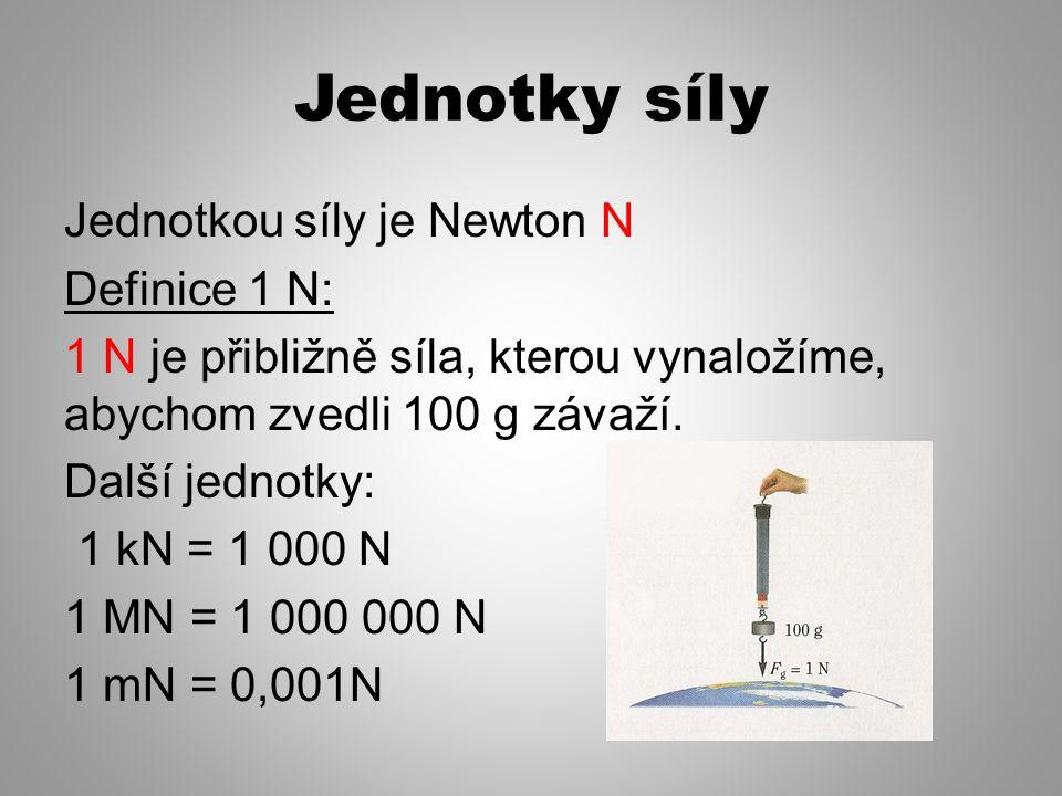 Jednotky síly Jednotkou síly je Newton N Definice 1 N: 1 N je přibližně síla, kterou vynaložíme, abychom zvedli 100 g závaží.
