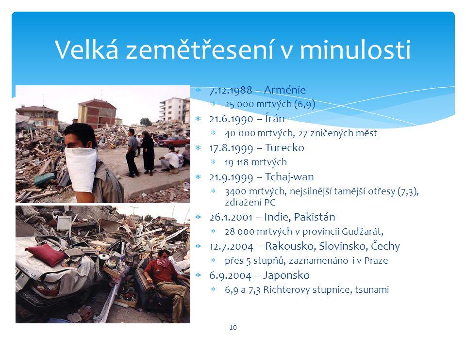 7.12.1988 – Arménie  25 000 mrtvých (6,9)  21.6.1990 – Írán  40 000 mrtvých, 27 zničených měst  17.8.1999 – Turecko  19 118 mrtvých  21.9.1999 – Tchaj-wan  3400 mrtvých, nejsilnější tamější otřesy (7,3), zdražení PC  26.1.2001 – Indie, Pakistán  28 000 mrtvých v provincii Gudžarát,  12.7.2004 – Rakousko, Slovinsko, Čechy  přes 5 stupňů, zaznamenáno i v Praze  6.9.2004 – Japonsko  6,9 a 7,3 Richterovy stupnice, tsunami Velká zemětřesení v minulosti 10