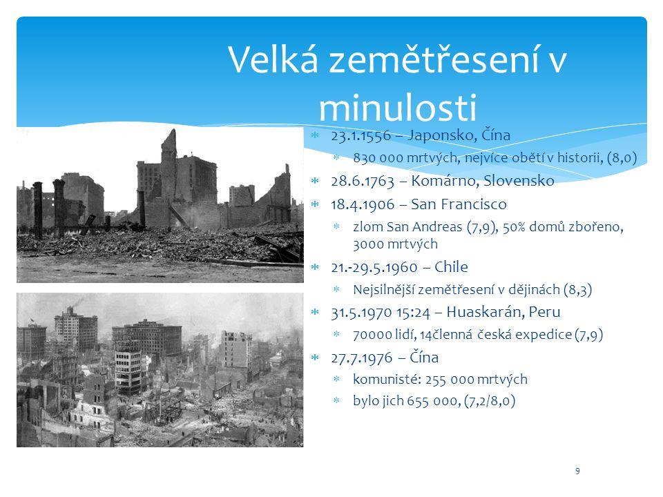 Velká zemětřesení v minulosti  23.1.1556 – Japonsko, Čína  830 000 mrtvých, nejvíce obětí v historii, (8,0)  28.6.1763 – Komárno, Slovensko  18.4.1906 – San Francisco  zlom San Andreas (7,9), 50% domů zbořeno, 3000 mrtvých  21.-29.5.1960 – Chile  Nejsilnější zemětřesení v dějinách (8,3)  31.5.1970 15:24 – Huaskarán, Peru  70000 lidí, 14členná česká expedice (7,9)  27.7.1976 – Čína  komunisté: 255 000 mrtvých  bylo jich 655 000, (7,2/8,0) 9
