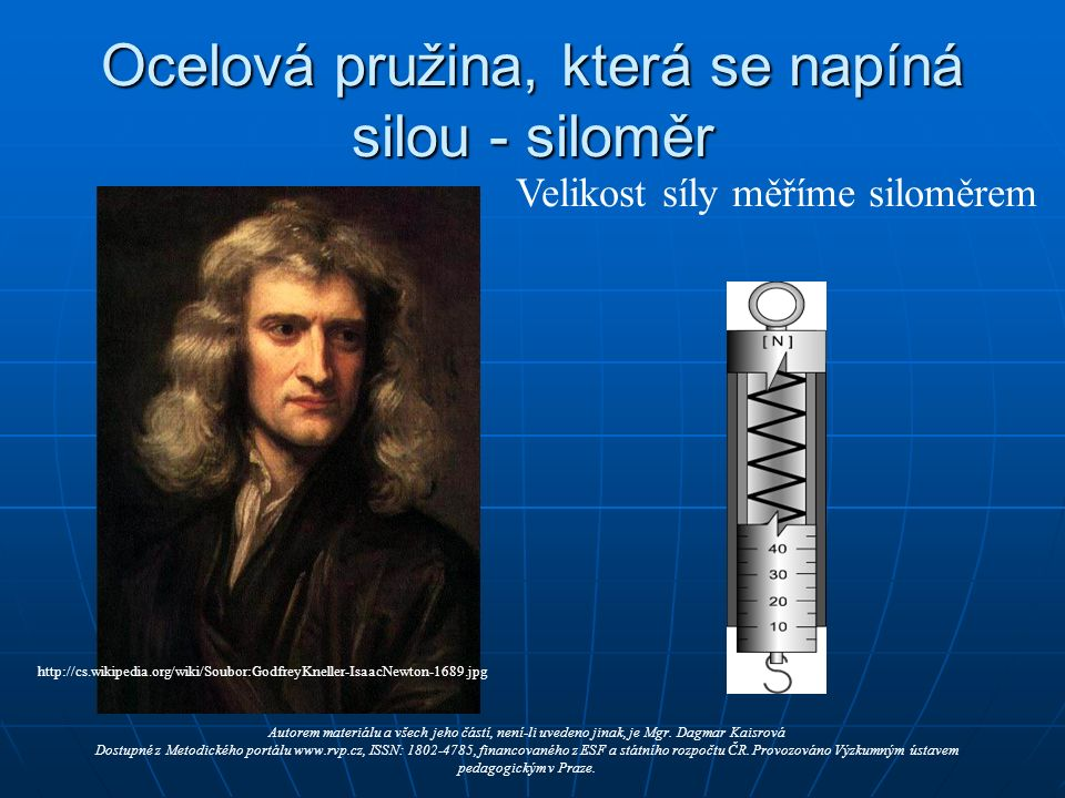 Ocelová pružina, která se napíná silou - siloměr http://cs.wikipedia.org/wiki/Soubor:GodfreyKneller-IsaacNewton-1689.jpg Autorem materiálu a všech jeho částí, není-li uvedeno jinak, je Mgr.