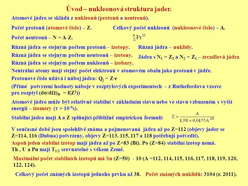 Úvod – nukleonová struktura jader. Atomové jádro se skládá z nukleonů (protonů a neutronů). Počet protonů (atomové číslo) – Z.Celkový počet nukleonů (