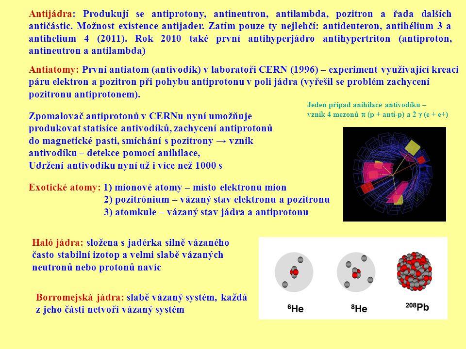 Exotické atomy: 1) mionové atomy – místo elektronu mion 2) pozitrónium – vázaný stav elektronu a pozitronu 3) atomkule – vázaný stav jádra a antiproto