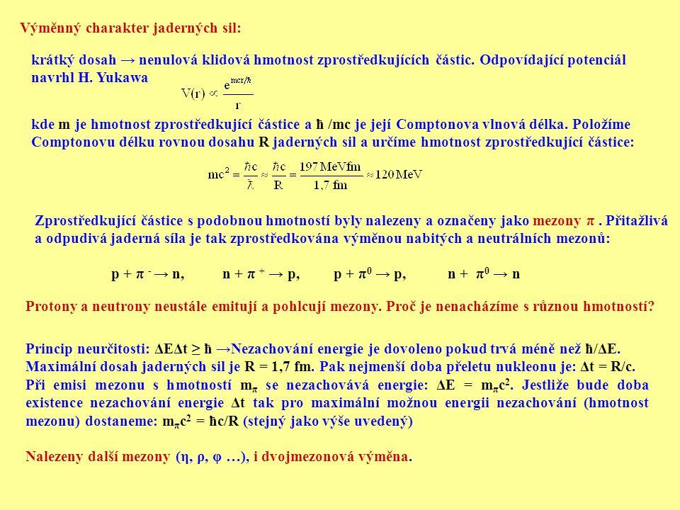 Zprostředkující částice s podobnou hmotností byly nalezeny a označeny jako mezony π. Přitažlivá a odpudivá jaderná síla je tak zprostředkována výměnou