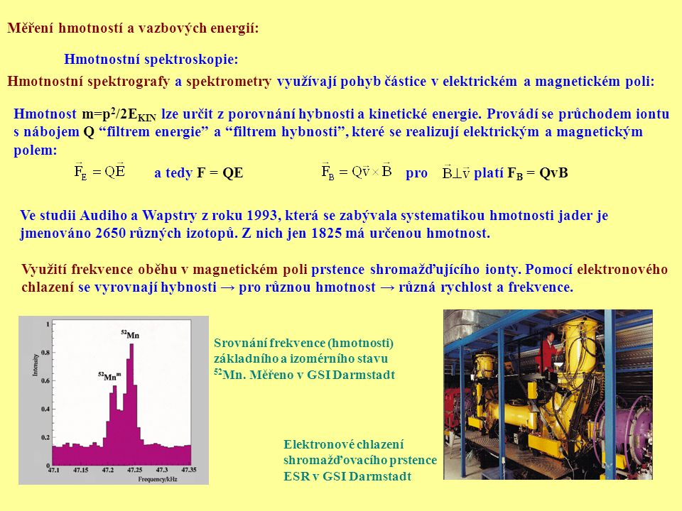 Měření hmotností a vazbových energií: Hmotnostní spektroskopie: Hmotnostní spektrografy a spektrometry využívají pohyb částice v elektrickém a magneti