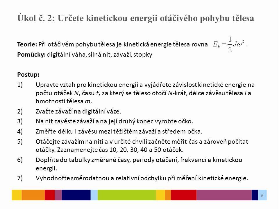 6 Teorie: Při otáčivém pohybu tělesa je kinetická energie tělesa rovna.