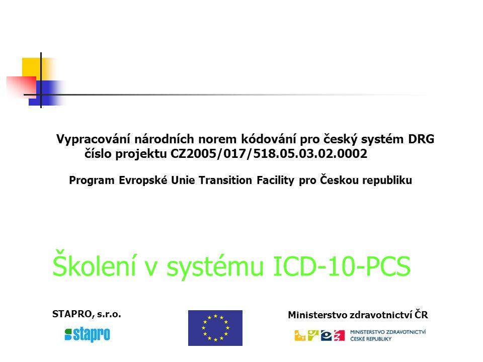 ICD-10-Procedure Coding System (ICD-10-PCS) Sekce se vztahem k sekci Interní a chirurgická