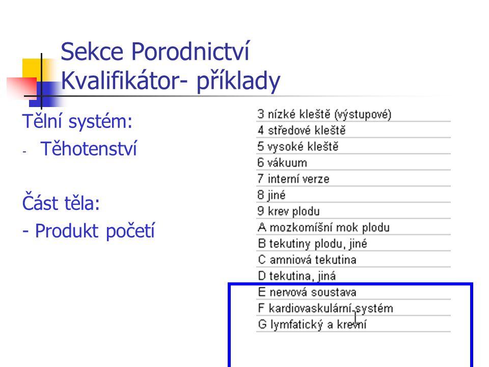 Sekce Porodnictví Kvalifikátor- příklady Tělní systém: - Těhotenství Část těla: - Produkt početí