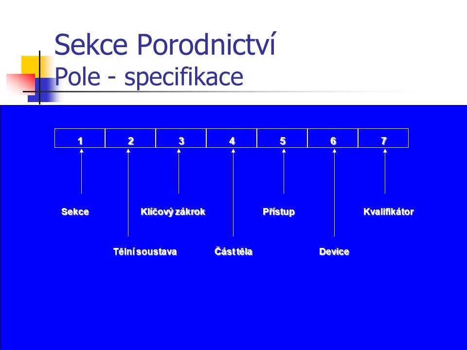 Sekce Porodnictví Pole - specifikace 1234567 Sekce Tělní soustava Klíčový zákrok Přístup Device Kvalifikátor Část těla