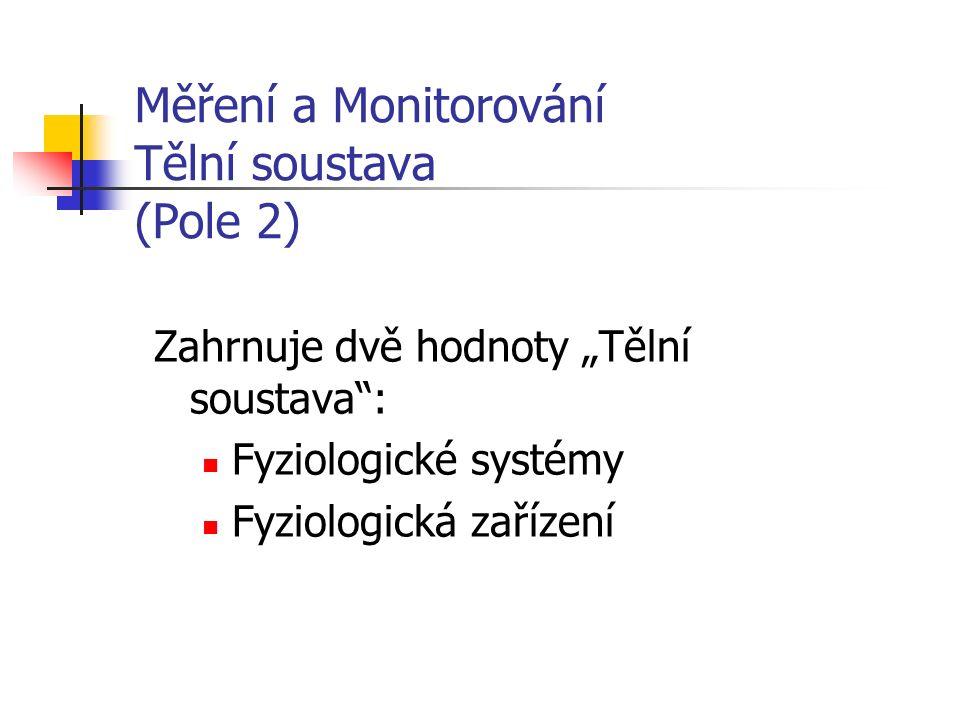"""Měření a Monitorování Tělní soustava (Pole 2) Zahrnuje dvě hodnoty """"Tělní soustava : Fyziologické systémy Fyziologická zařízení"""