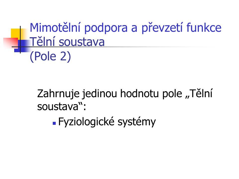 """Mimotělní podpora a převzetí funkce Tělní soustava (Pole 2) Zahrnuje jedinou hodnotu pole """"Tělní soustava : Fyziologické systémy"""
