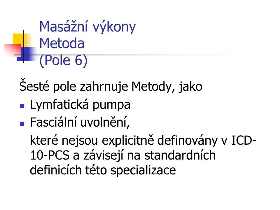 Masážní výkony Metoda (Pole 6) Šesté pole zahrnuje Metody, jako Lymfatická pumpa Fasciální uvolnění, které nejsou explicitně definovány v ICD- 10-PCS a závisejí na standardních definicích této specializace