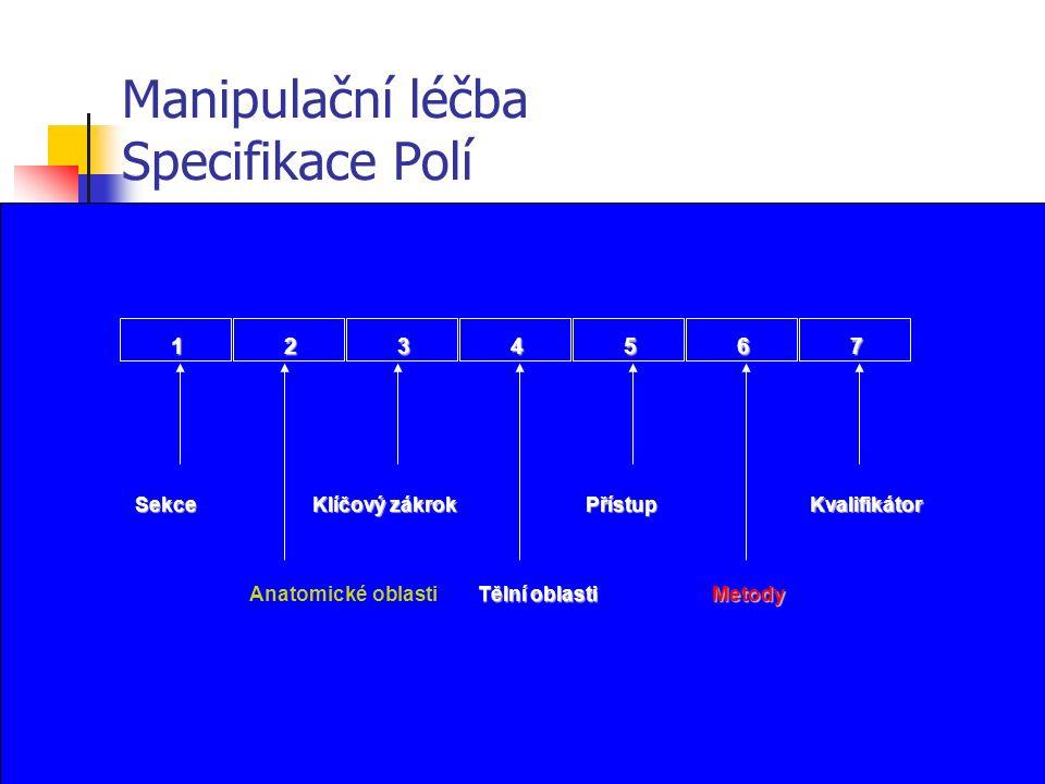 Manipulační léčba Specifikace Polí 1234567 Sekce Anatomické oblasti Klíčový zákrok Přístup Metody Kvalifikátor Tělní oblasti