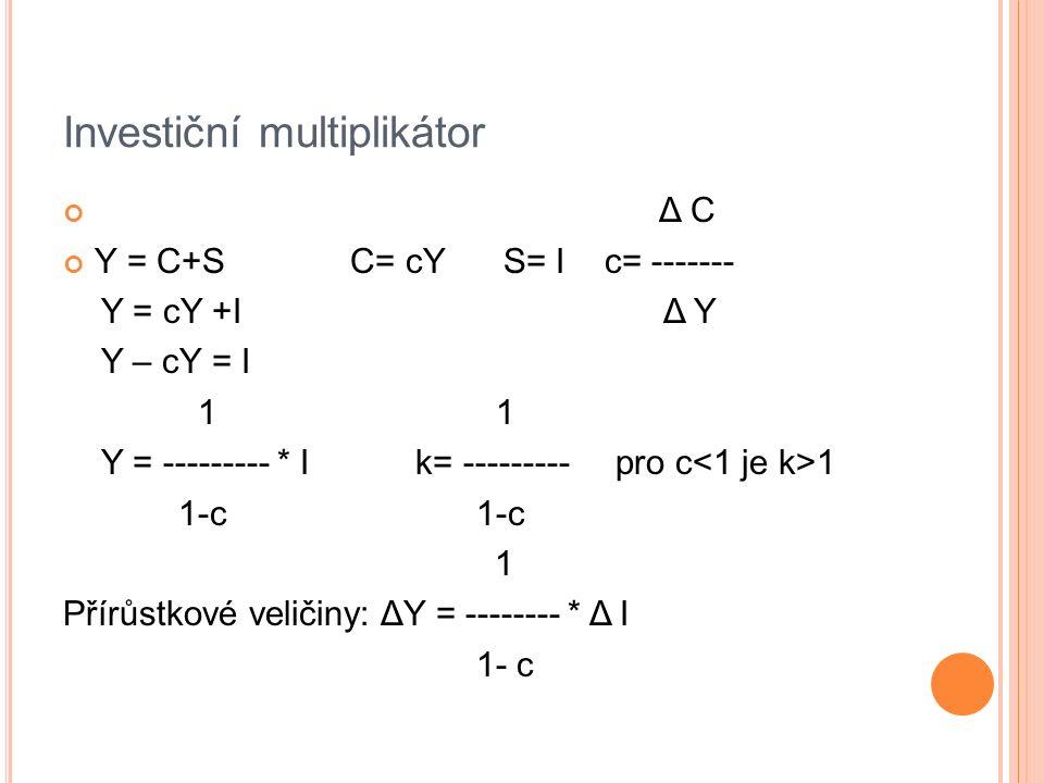 Investiční multiplikátor Δ C Y = C+S C= cY S= I c= ------- Y = cY +I Δ Y Y – cY = I 1 1 Y = --------- * I k= --------- pro c 1 1-c 1-c 1 Přírůstkové veličiny: ΔY = -------- * Δ I 1- c