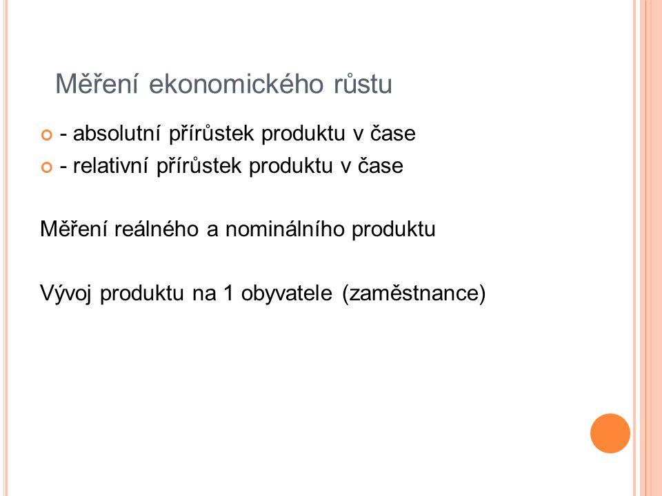 Měření ekonomického růstu - absolutní přírůstek produktu v čase - relativní přírůstek produktu v čase Měření reálného a nominálního produktu Vývoj produktu na 1 obyvatele (zaměstnance)