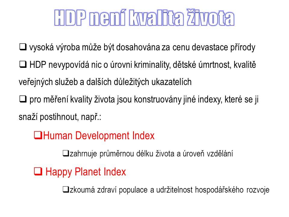  vysoká výroba může být dosahována za cenu devastace přírody  HDP nevypovídá nic o úrovni kriminality, dětské úmrtnost, kvalitě veřejných služeb a dalších důležitých ukazatelích  pro měření kvality života jsou konstruovány jiné indexy, které se ji snaží postihnout, např.:  Human Development Index  zahrnuje průměrnou délku života a úroveň vzdělání  Happy Planet Index  zkoumá zdraví populace a udržitelnost hospodářského rozvoje