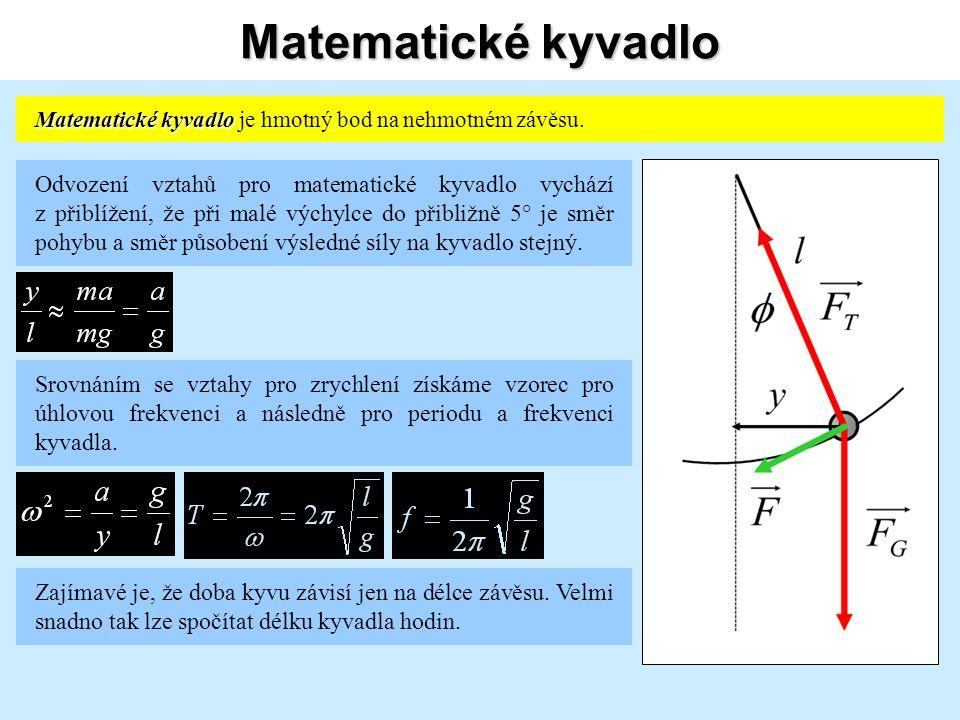 Matematické kyvadlo Matematické kyvadlo Matematické kyvadlo je hmotný bod na nehmotném závěsu.