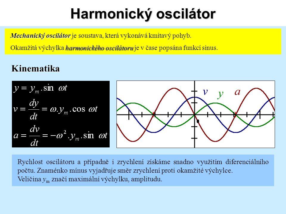 Harmonický oscilátor Kinematika Rychlost oscilátoru a případně i zrychlení získáme snadno využitím diferenciálního počtu.