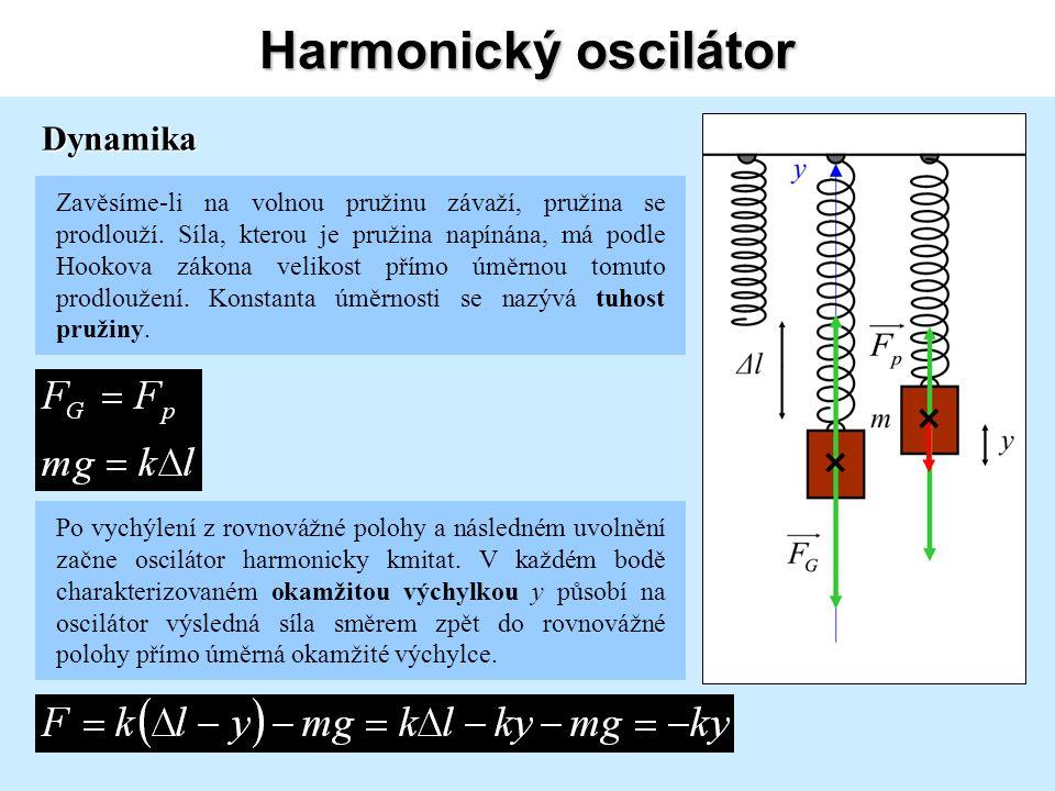 Harmonický oscilátor Spojením vztahů z prvních dvou stran lze získat vztahy pro úhlovou frekvenci a tudíž pro periodu či frekvenci harmonického oscilátoru.