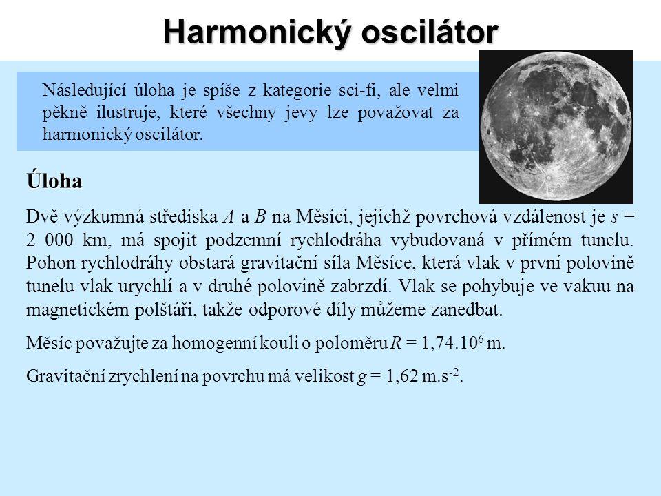 Harmonický oscilátor Gravitační síla působící na vlak v libovolném místě M jeho dráhy ve vzdálenosti x od rovnovážné polohy a r od středu měsíce je přímo úměrná gravitační síle působící na povrchu.