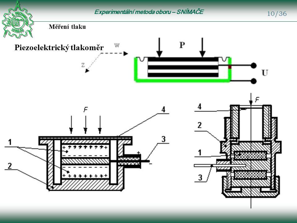Experimentální metoda oboru – SNÍMAČE 10/36 Měření tlaku Piezoelektrický tlakoměr
