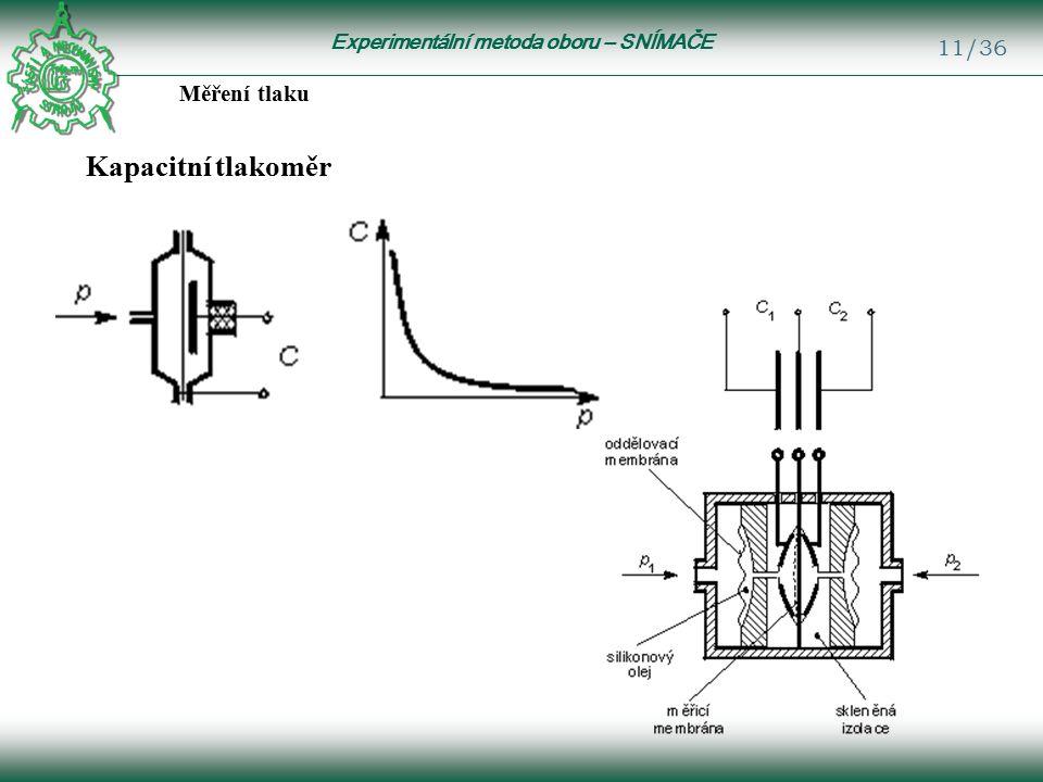 Experimentální metoda oboru – SNÍMAČE 11/36 Měření tlaku Kapacitní tlakoměr
