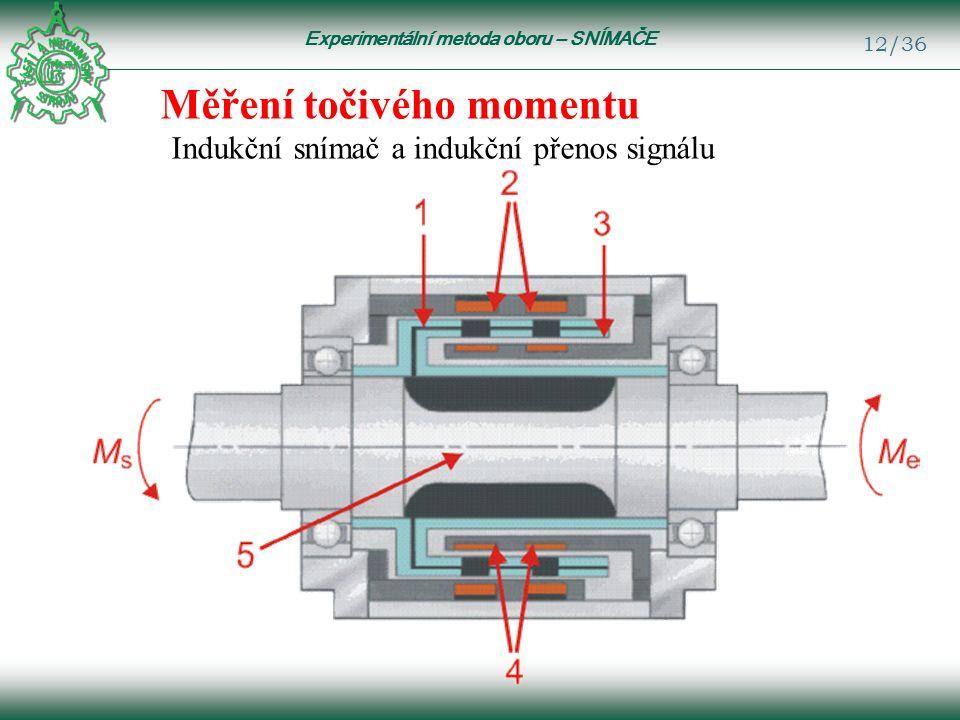 Experimentální metoda oboru – SNÍMAČE 12/36 Měření točivého momentu Indukční snímač a indukční přenos signálu