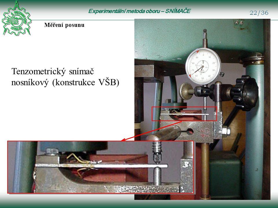 Experimentální metoda oboru – SNÍMAČE 22/36 Měření posunu Tenzometrický snímač nosníkový (konstrukce VŠB)