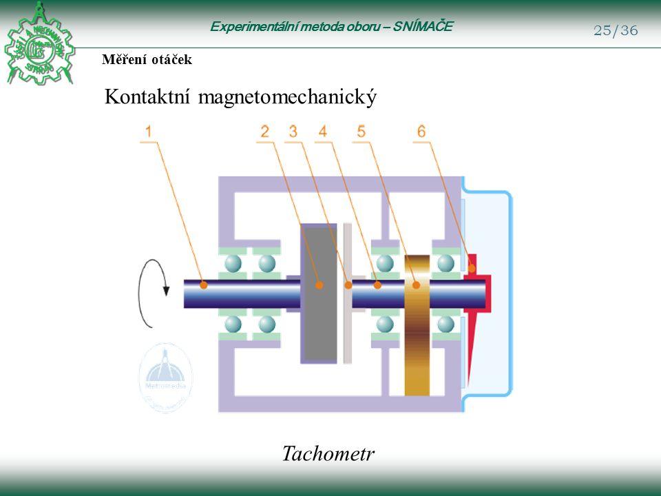Experimentální metoda oboru – SNÍMAČE 25/36 Měření otáček Kontaktní magnetomechanický Tachometr